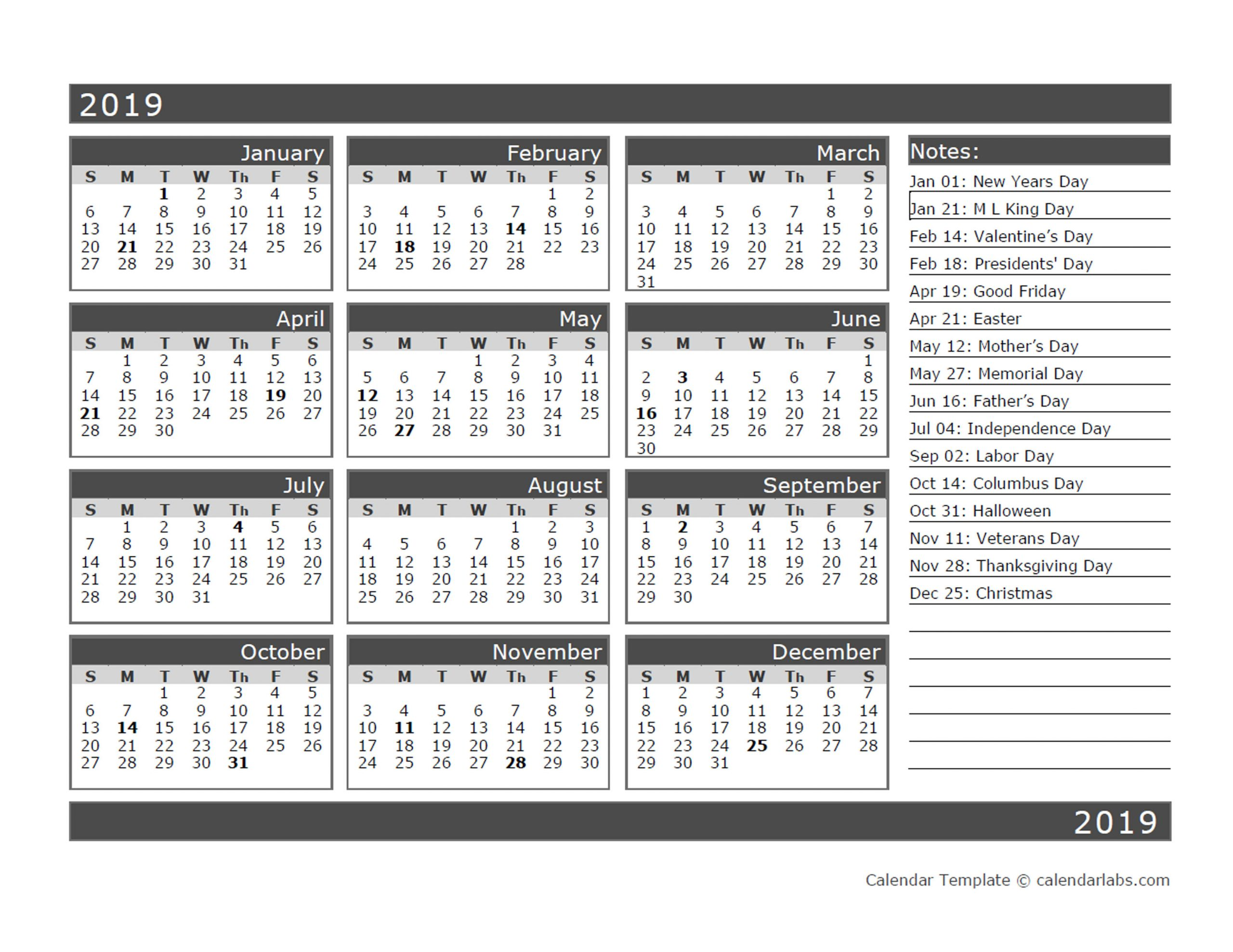 12-Month One Page Calendar Template For 2019 - Free pertaining to Printable Twelve Month One Page Calendar