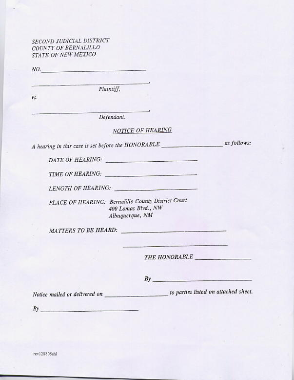 20 All Parties Entitled Top Notice Plaintiff Pro Se Or For Nc Court Date By Defendant By County