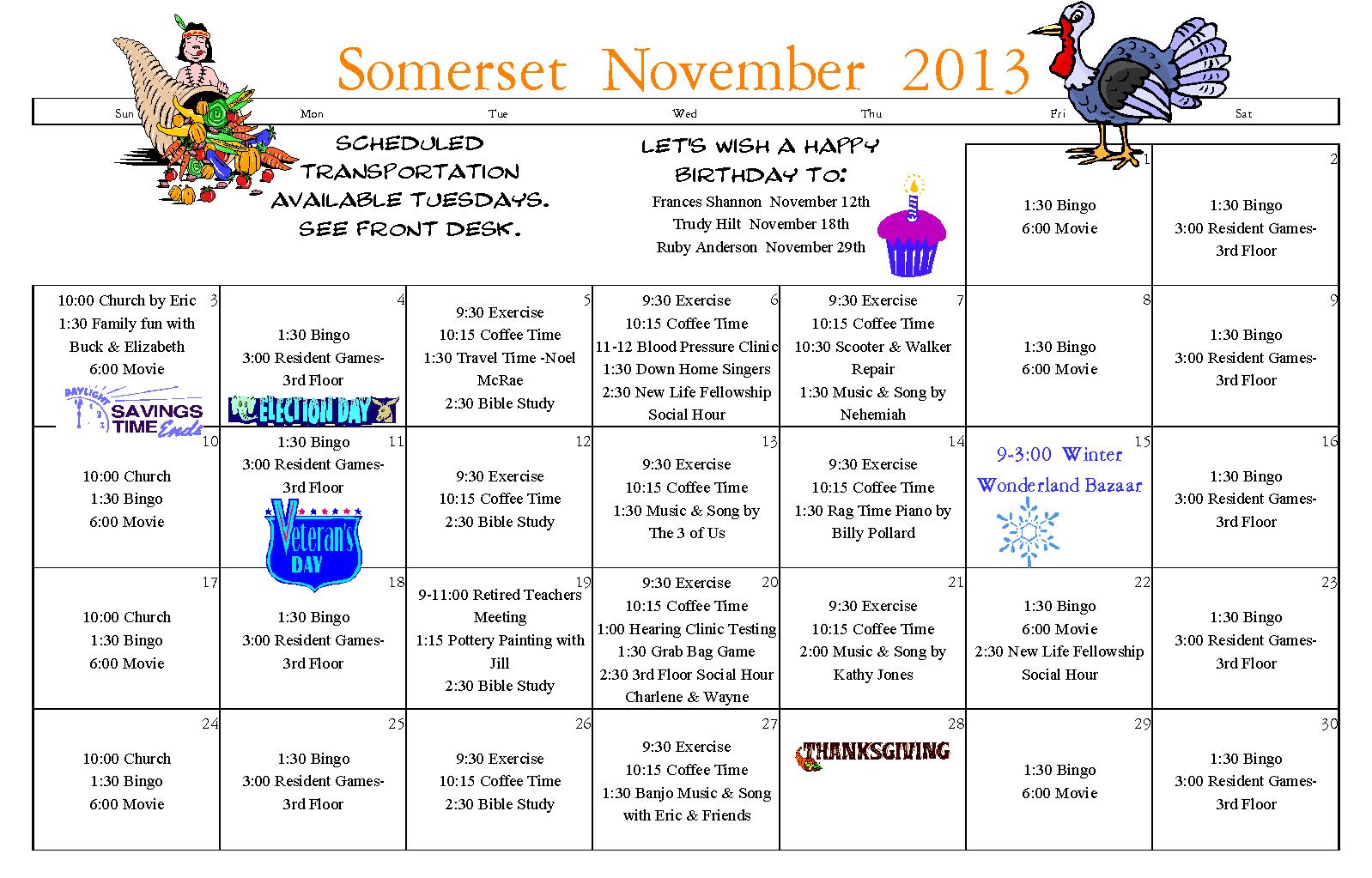 2013Novsomcal | Somerset Senior Living Longview Wa Within Assisted Living Activities Calendar Ideas