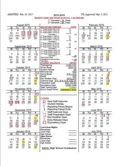 2015 16 Sharyland Isd High School Calendar – Sharyland Pertaining To Aiken High School Sc Calendar For 2015