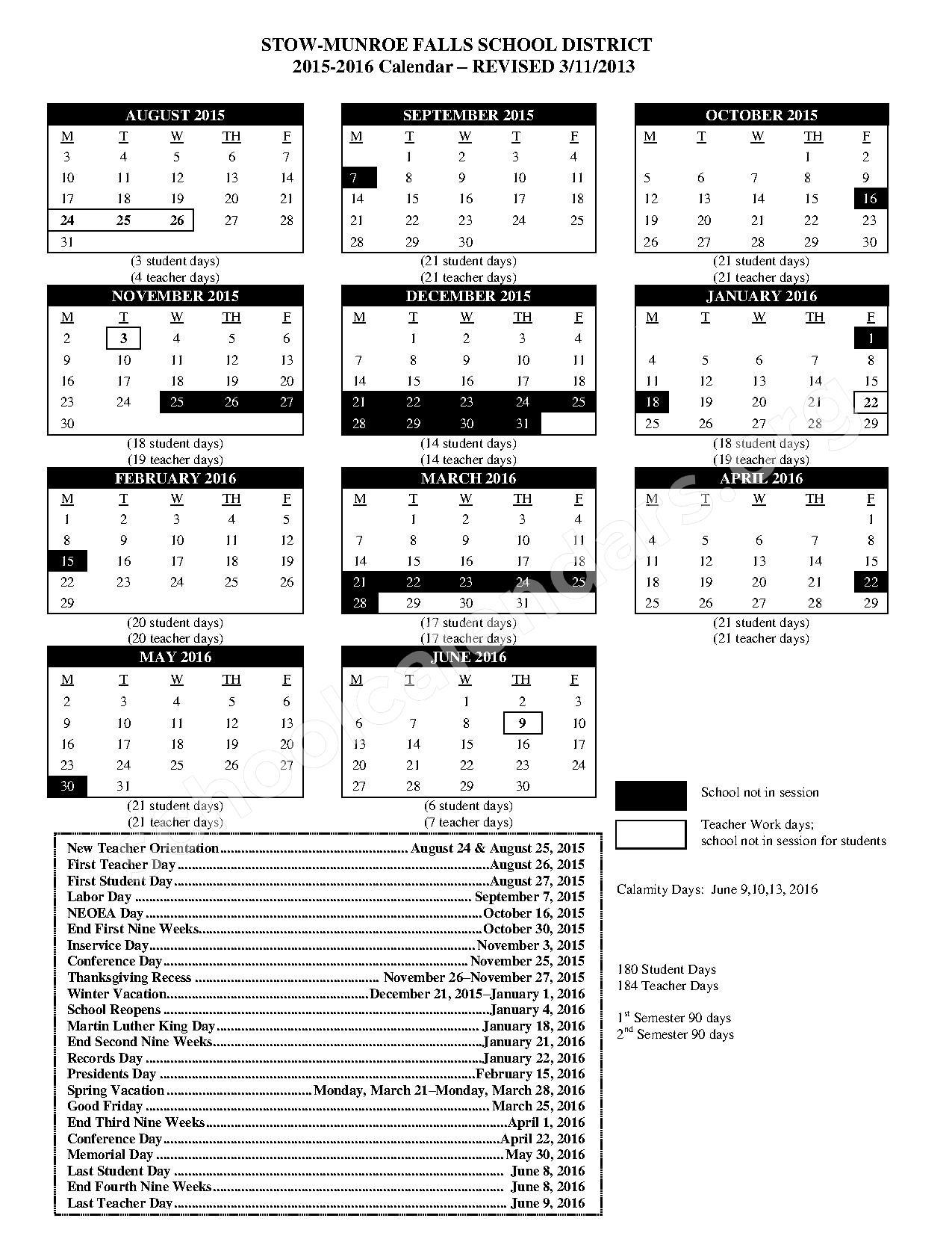 2015 – 2016 District Calendar | Stow Munroe Falls High Inside Aiken High School Sc Calendar For 2015