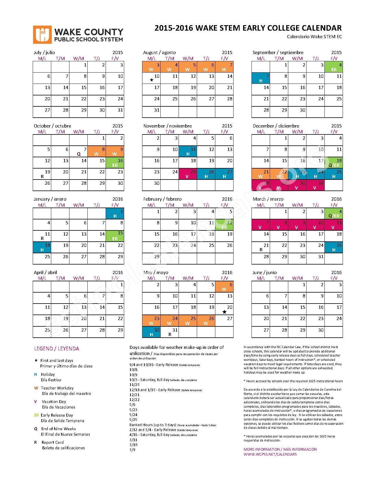 2015 - 2016 Early College (Stem) Calendar | Zebulon inside Wake County Nc Track Schedule Calendar