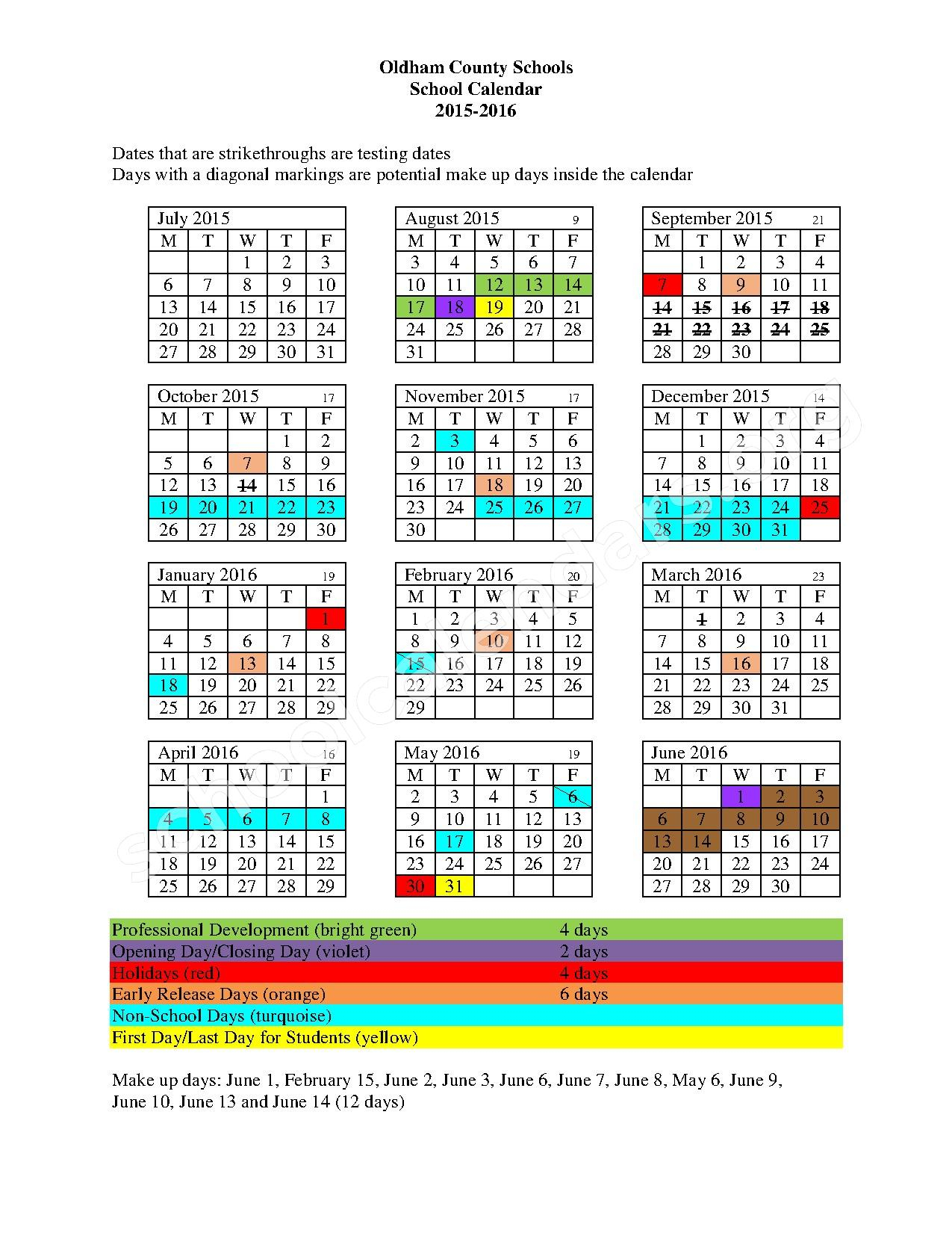 2015 - 2016 School Calendar | South Oldham High School With Aiken High School Sc Calendar For 2015