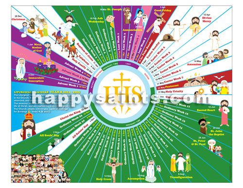 2015 - Happy Saints Liturgical Calendar 2015 (Year B With Catholic Saint Of The Day Calendar
