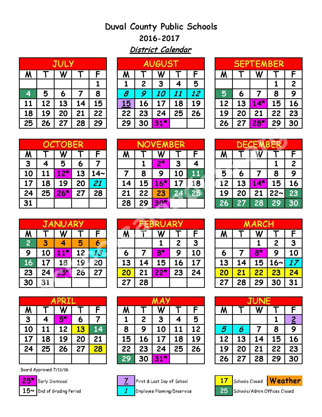 2016 – 2017 District Calendar | Duval County Public Regarding Bay Co School Calendar 2021 2021