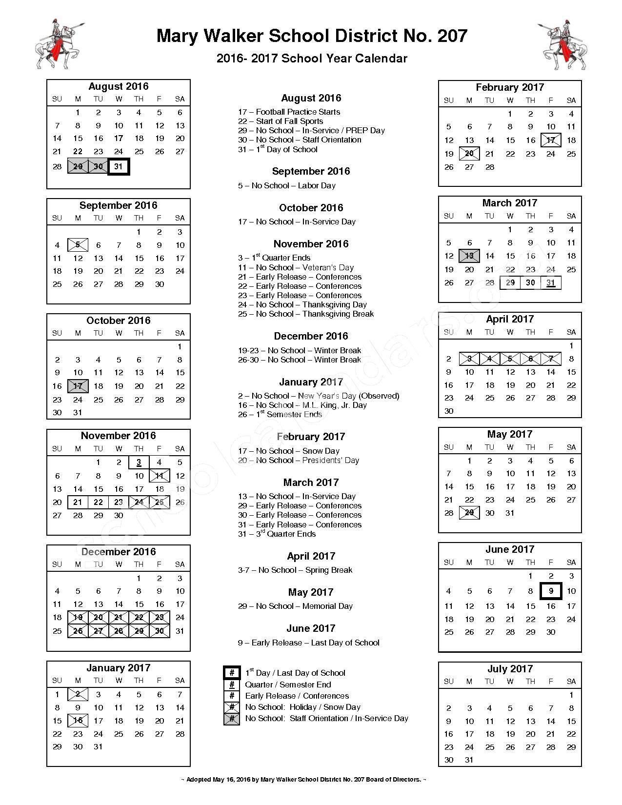 2016 – 2017 District Calendar | Parent Partner Program For Castle North Middle School Calendar