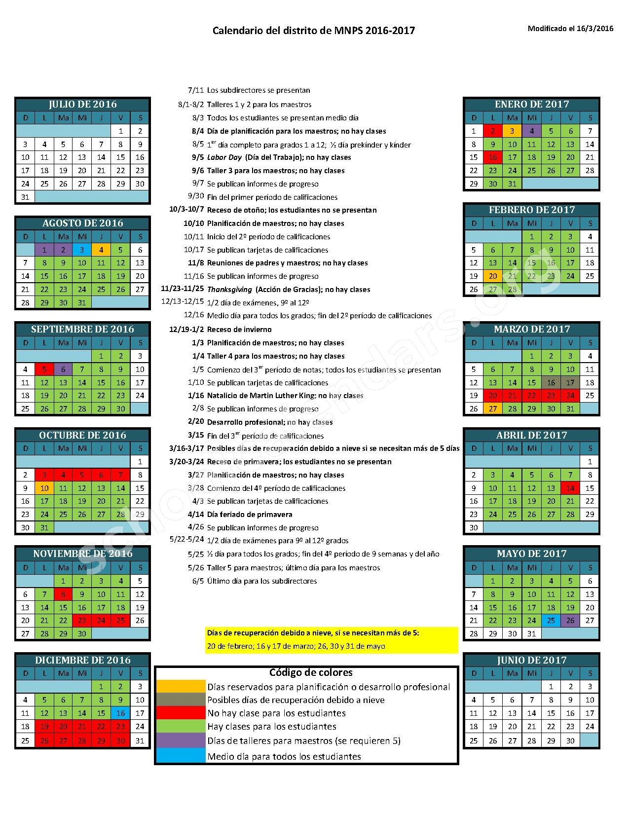 2016 – 2017 School Calendar (Spanish)   Davidson County Pertaining To Middle Early College Nashville Spring Break