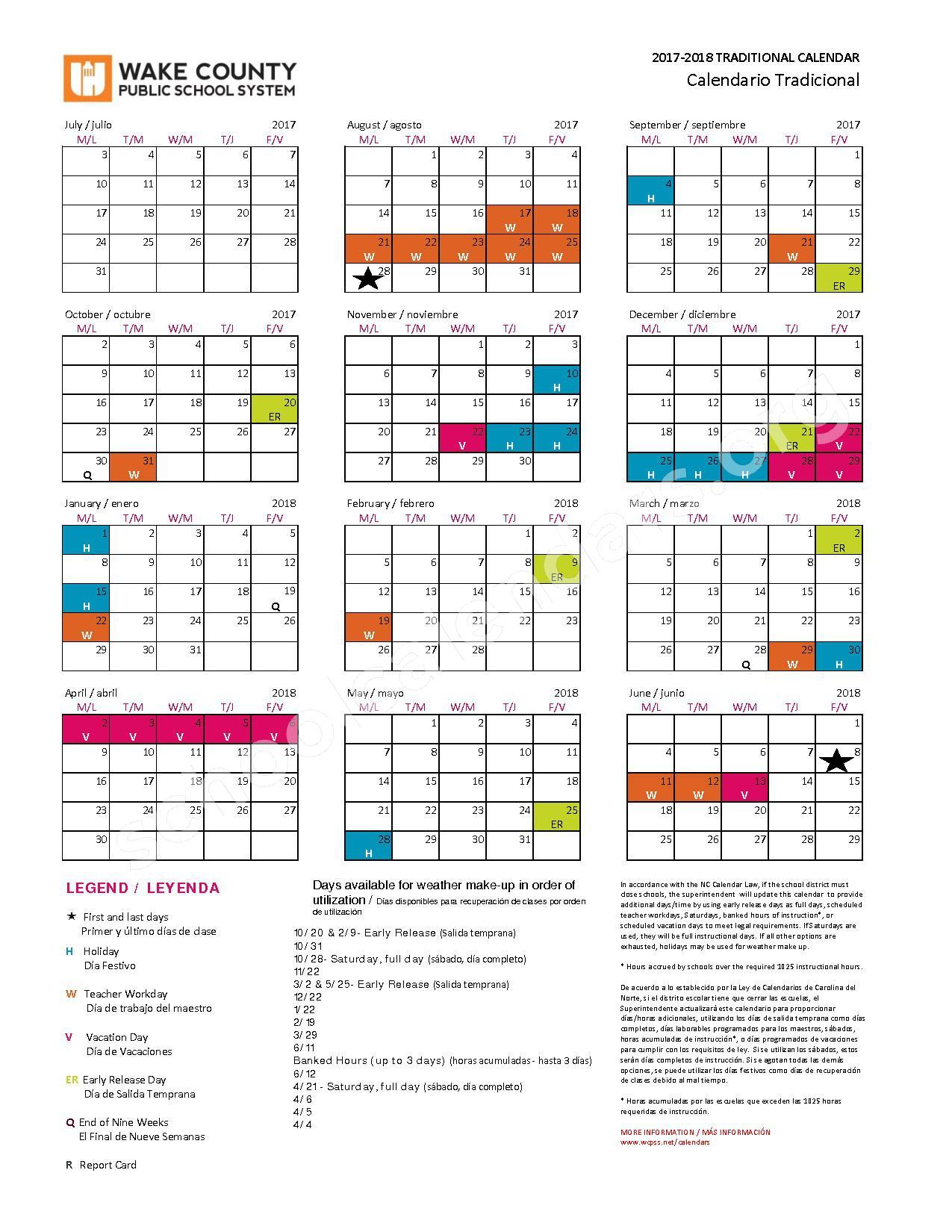 2017 - 2018 Traditional Calendar | Wake County Public Inside Wake County Nc Track Schedule Calendar