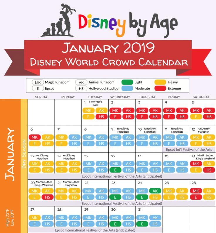 2019.01 Disney Crowd Calendar | Disney World Crowd Inside Disneyland Paris 2020 Calendar