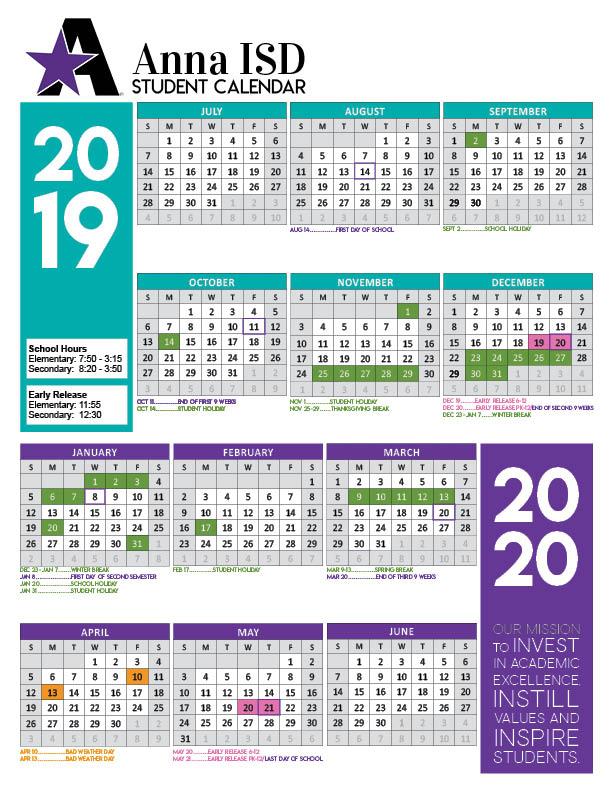 2019 2020 Academic Calendar Approved - Anna Independent Throughout Collin College Semester Calendar