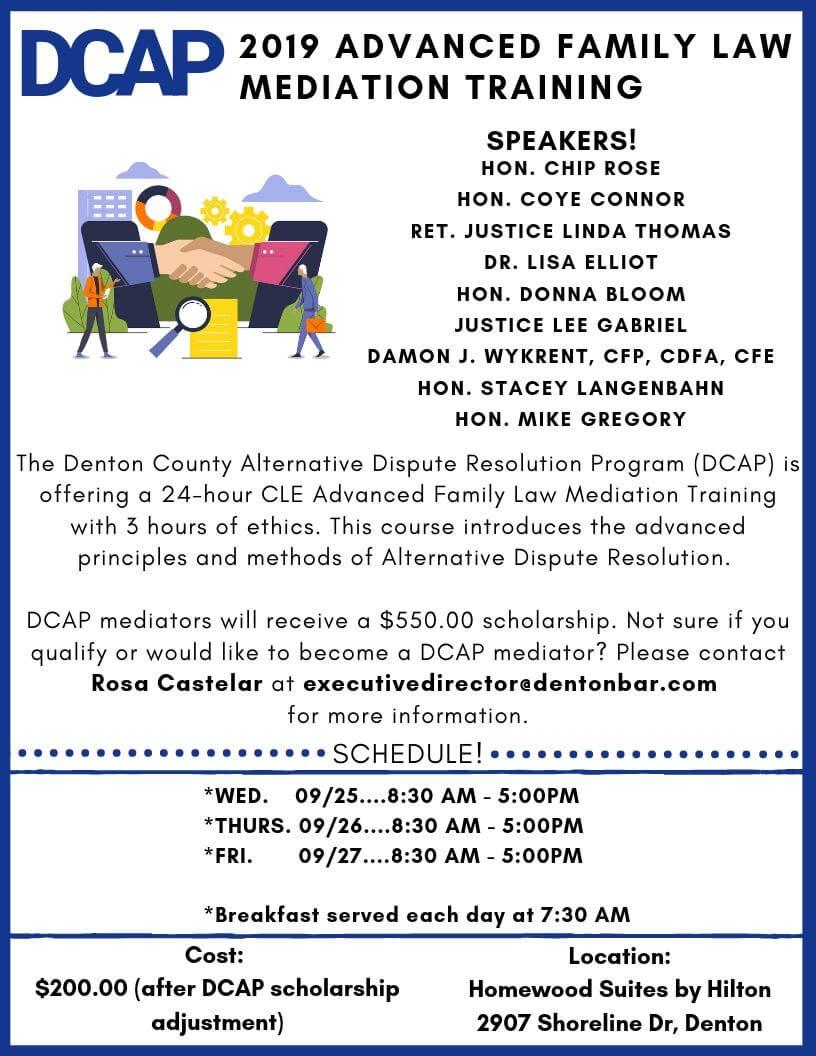 2019 Advanced Family Law Mediation Training - Denton For Wake Family Law Calendar