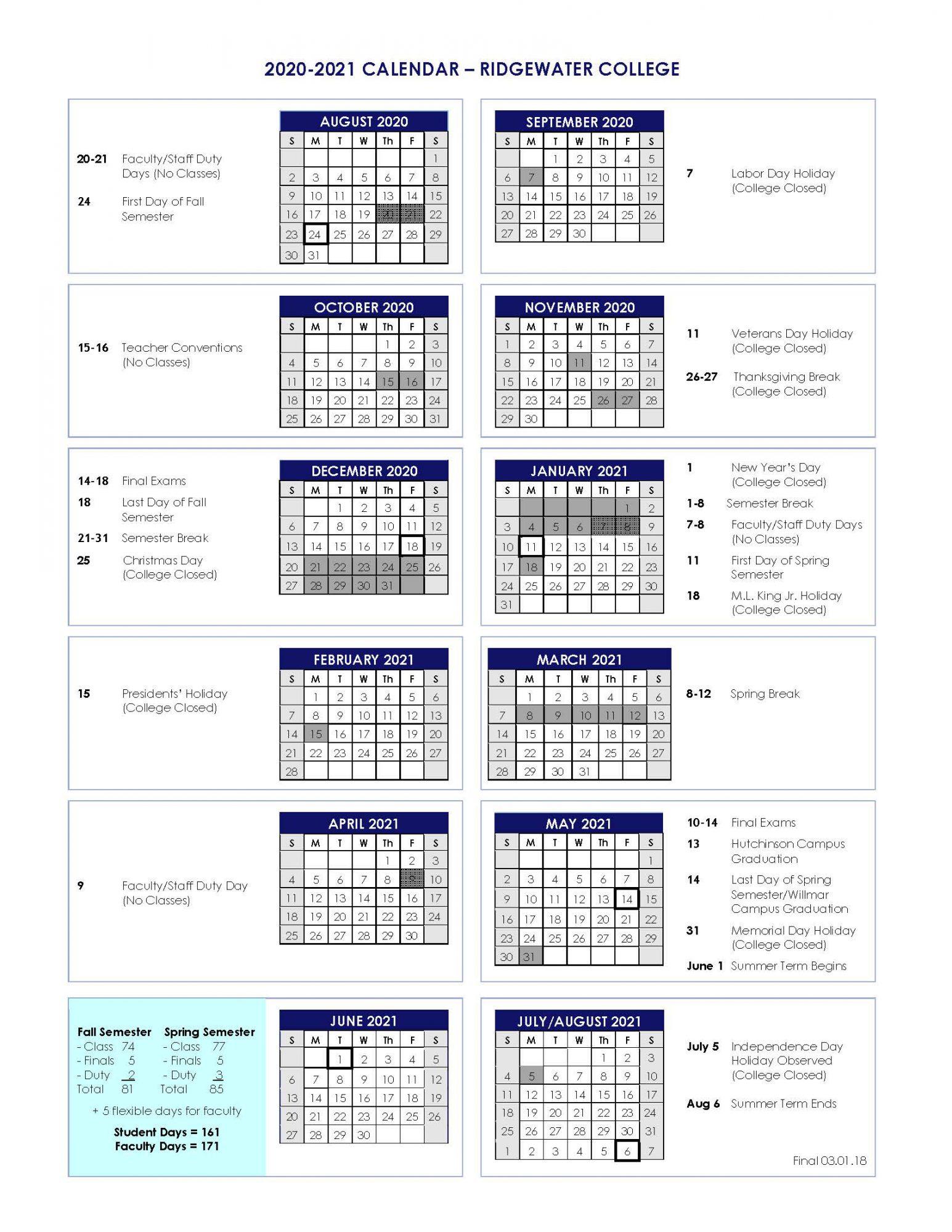 2020 2021 Academic Calendar – Ridgewater College In Las Cruces Public Schools Calendar 2021 2020