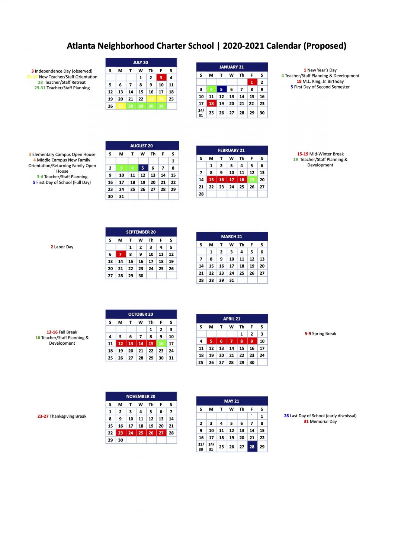 2020 2021 Ancs Draft Calendar - Atlanta Neighborhood Inside Fayette County Georgia School Calendar 2021 20