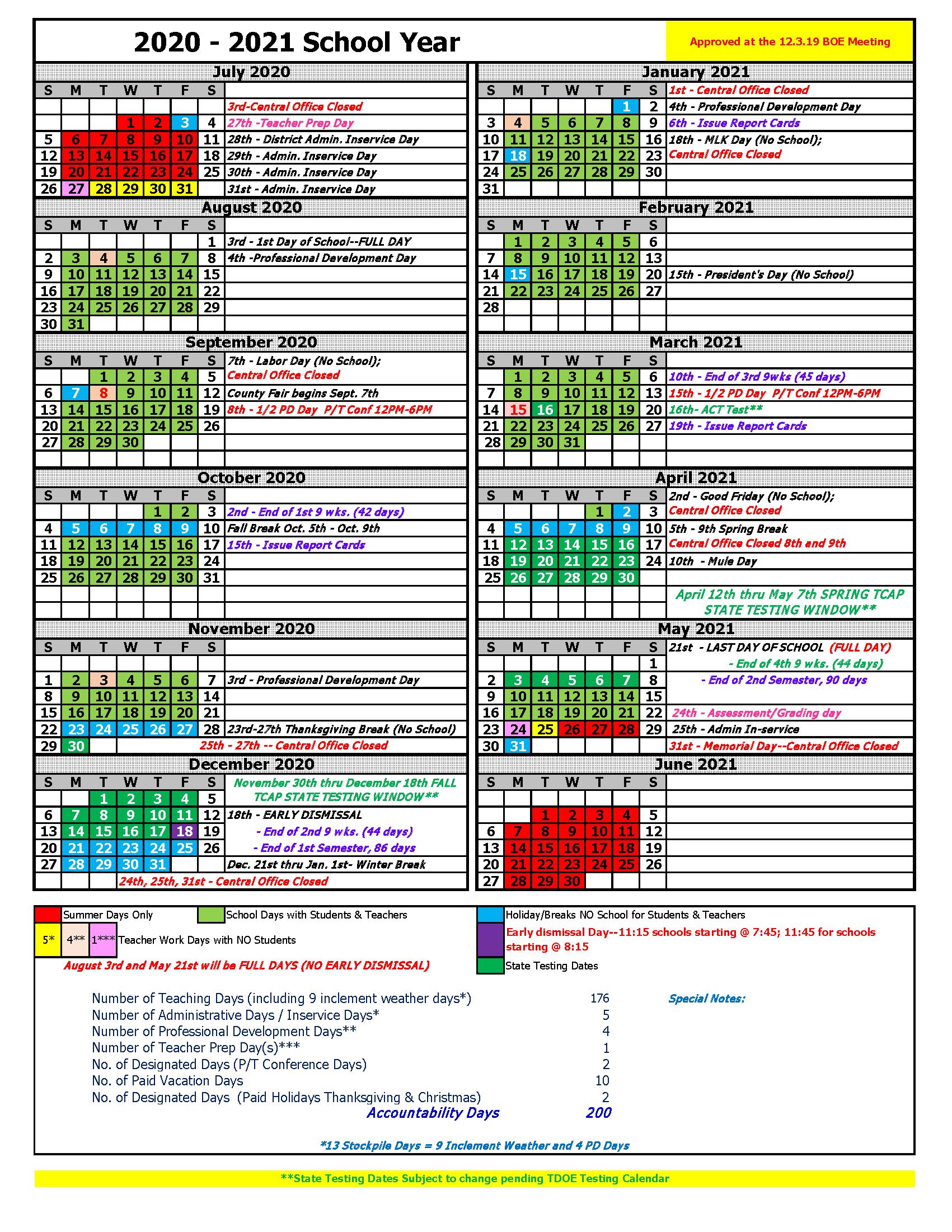 2020-2021 Calendar - Maury County Public Schools with West Bloomfield School Calendar 2021- 2020