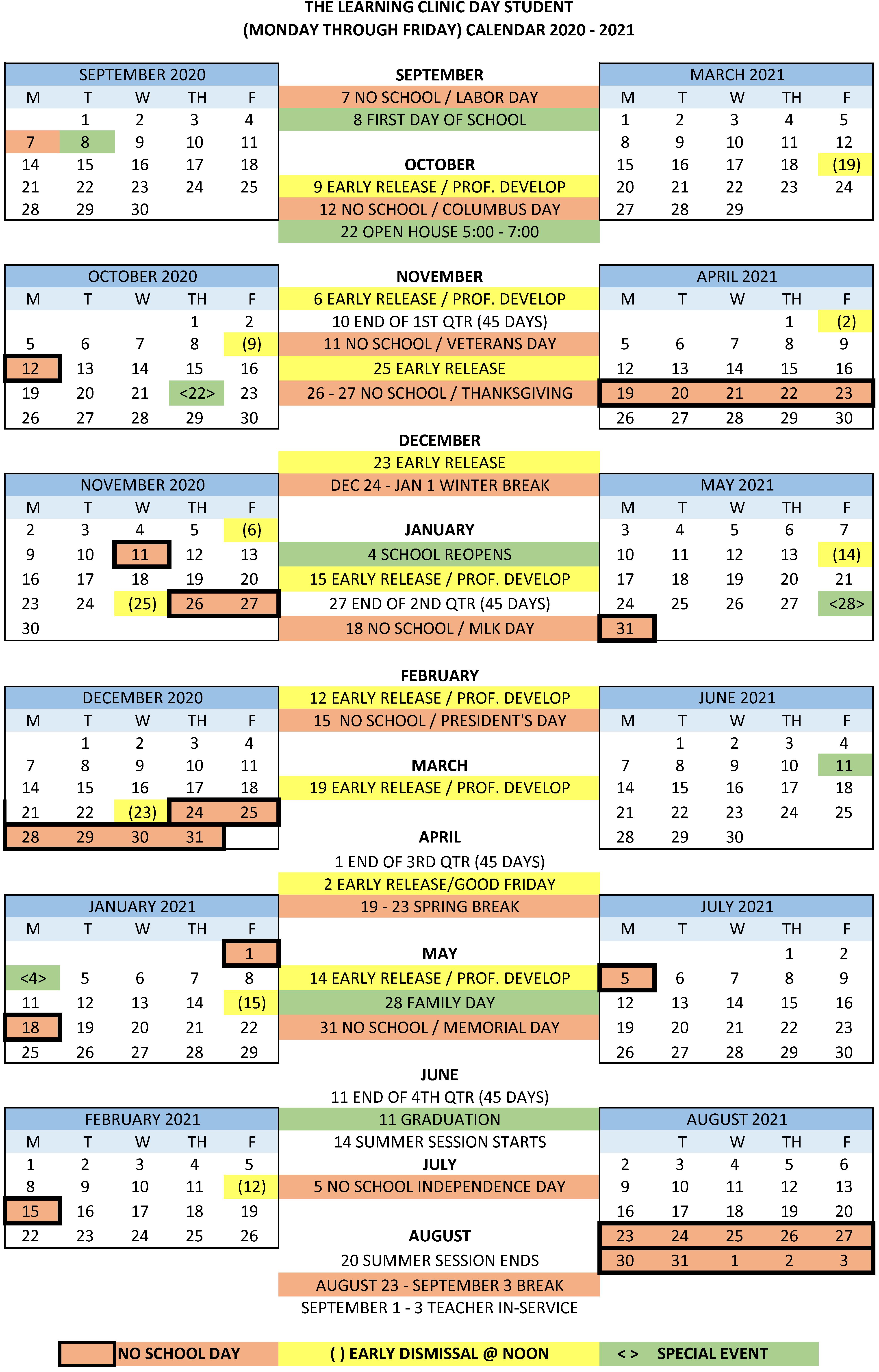 2020-2021 Day School Calendar | The Learning Clinic in Academic Calendar Chamberlain 2021