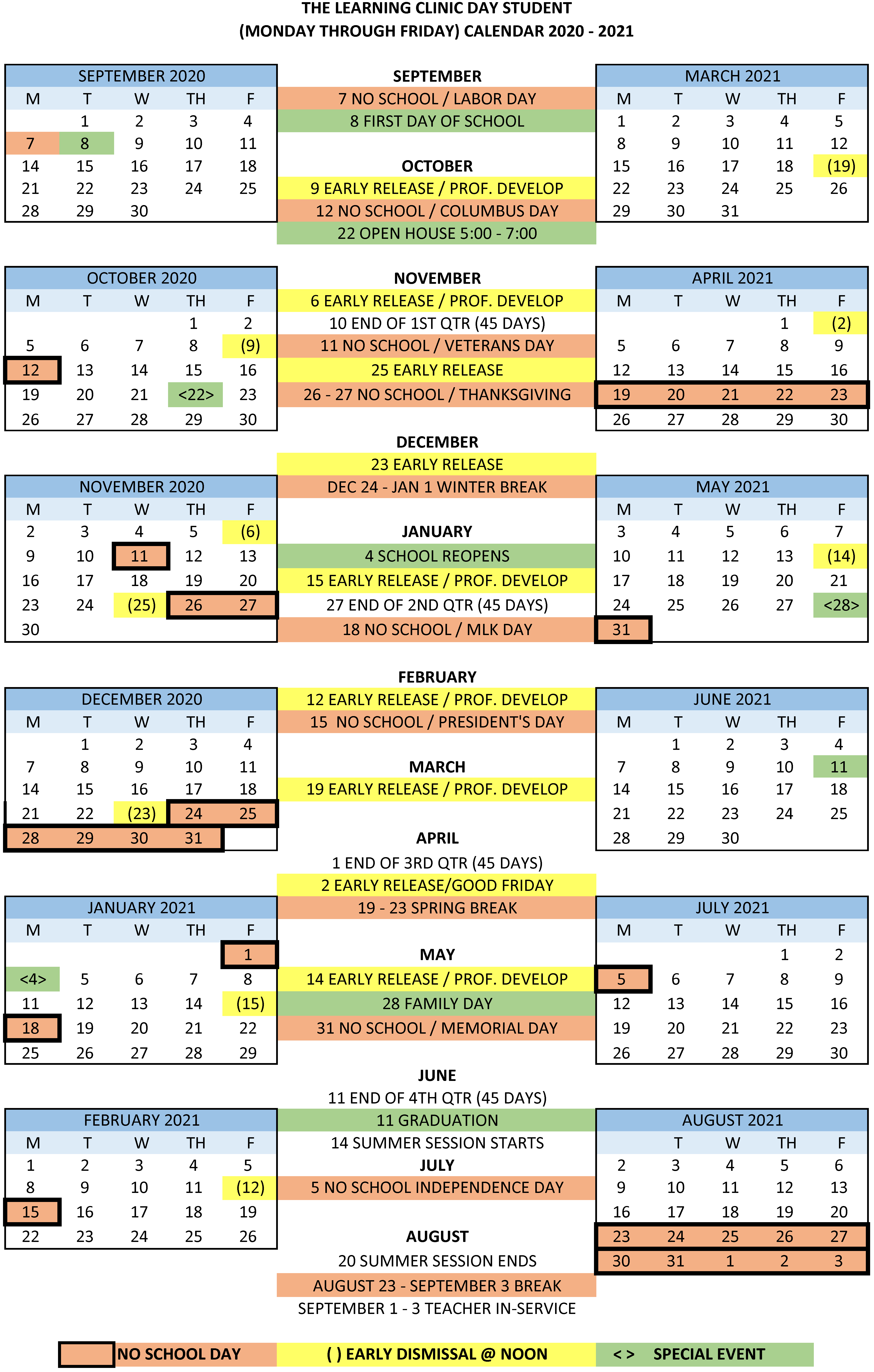 2020 2021 Day School Calendar   The Learning Clinic Intended For Jersey City Board Of Education Calendar