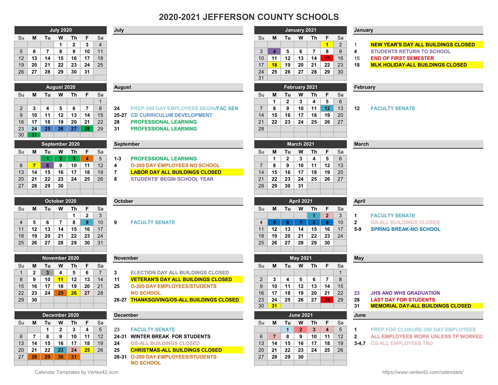2020 2021 Family Calendar - Jefferson County Schools Pertaining To West Bloomfield School Calendar 2021  2020