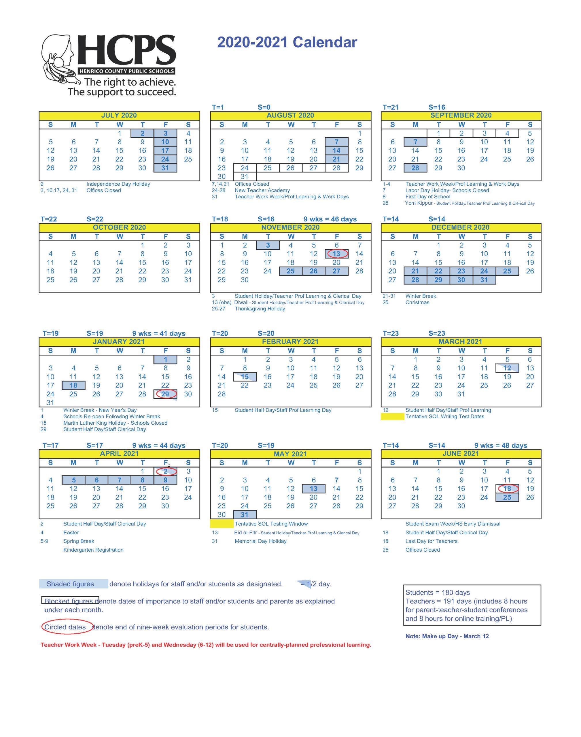 2020 2021 Henrico County Public Schools Calendar – Henrico Throughout Shelby County Al Public School Calendar 2021 2021