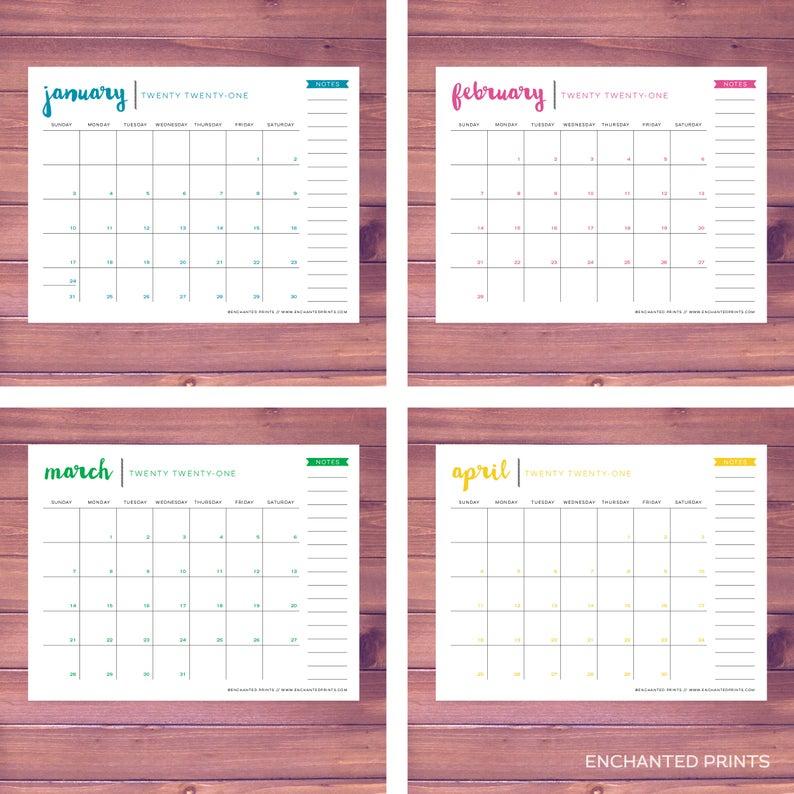 2020-2021 Printable Academic Calendar 16 Month Calendar | Etsy intended for Girne Amerikan University Academic Claendar 2021