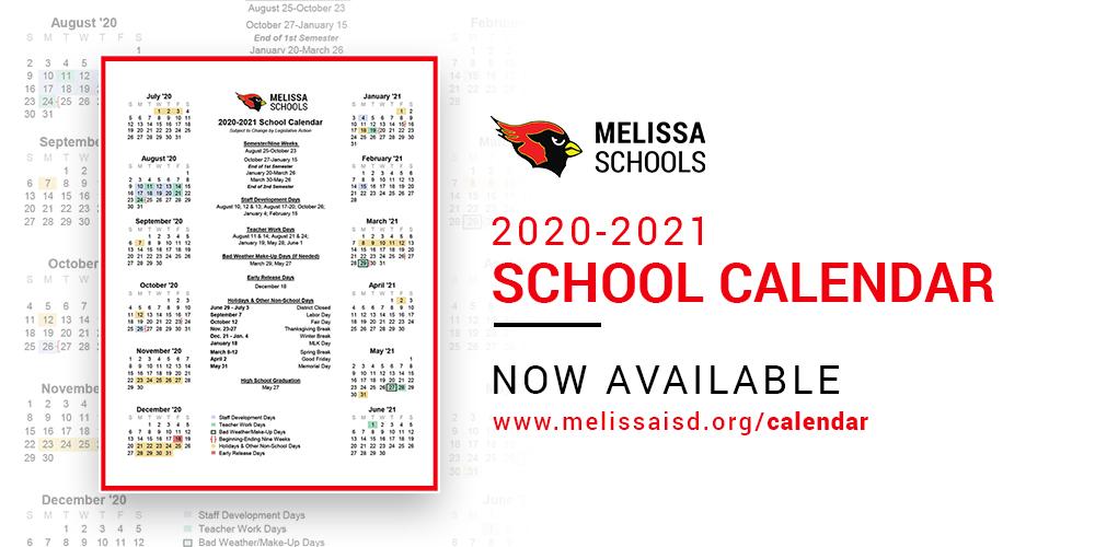 2020 2021 School Calendar Now Available   Melissaisd Throughout Gcu Academic Calendar Non Traditional 2020