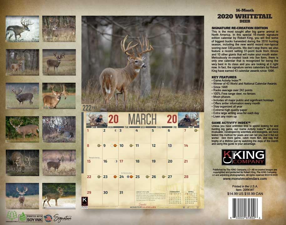 2020 Whitetail Deer Calendar, 2020 Whitetail Buck Calendar In Deer And Moon Phase