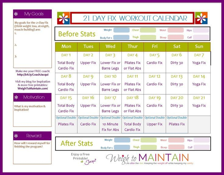 21 Day Fix Workout Schedule – Free Pdf Download (Weigh To With Regard To Official Slim In 6 Pdf Workout Calendar