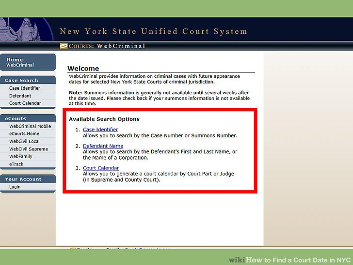 3 Ways To Find A Court Date In Nyc - Wikihow Throughout Nc Court Date By Defendant By County