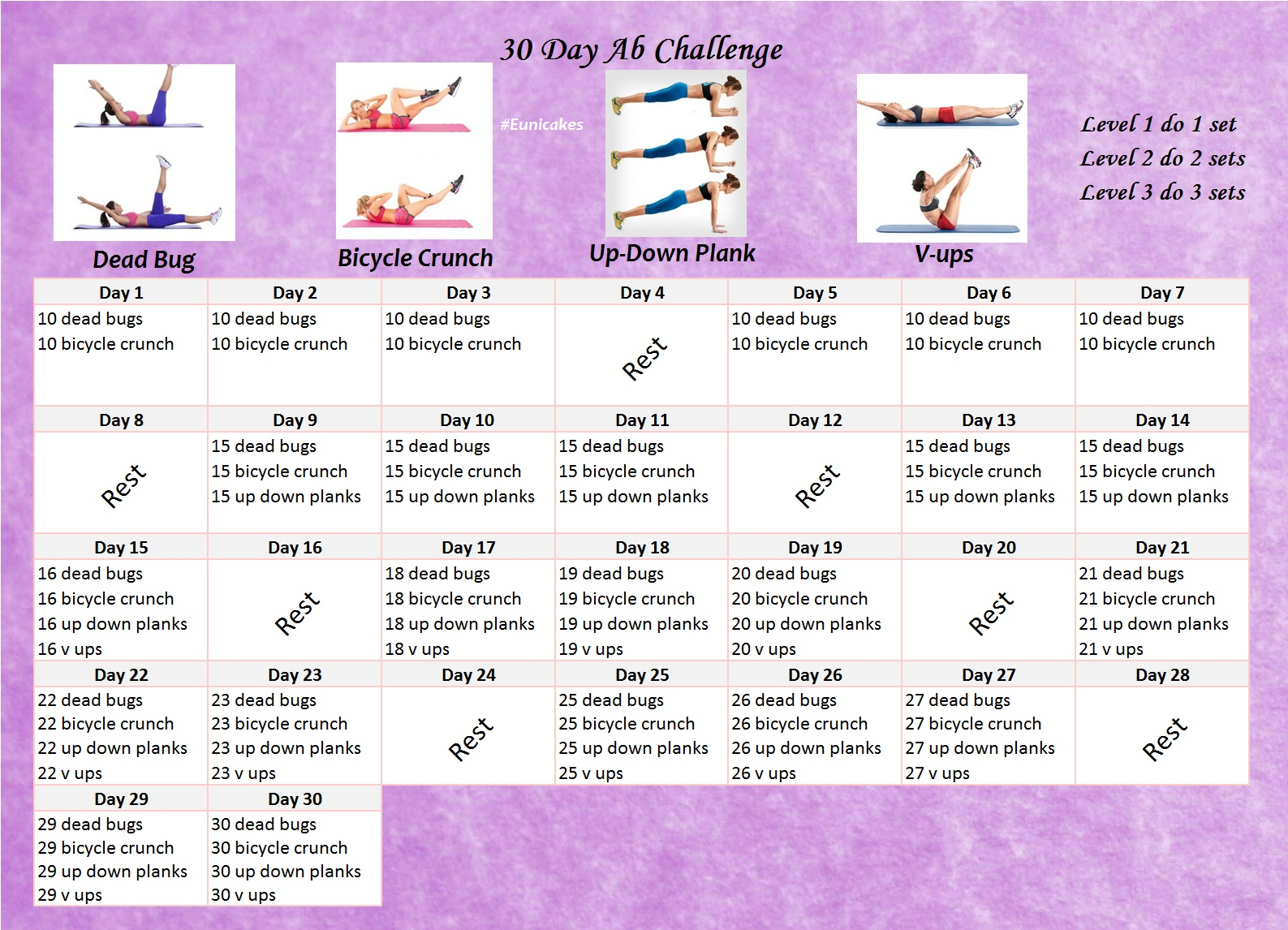 30 Day Ab Challenge For Women | Eunicakes With Regard To 30 Day Sit Up Challenge Printable Beginnerss