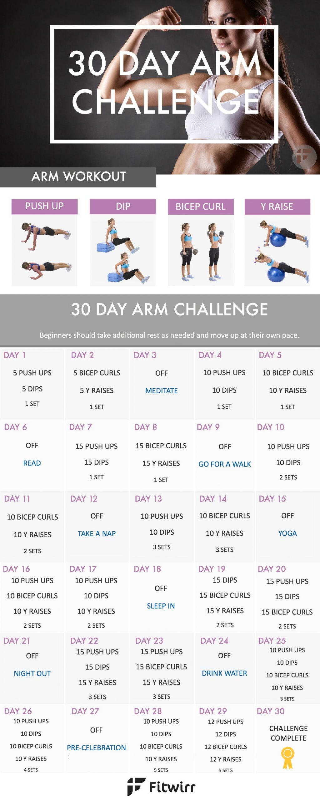 30 Day Arm Challenge To Sculpt Your Best Arms Ever with regard to 30 Day Thigh Challenge Printable