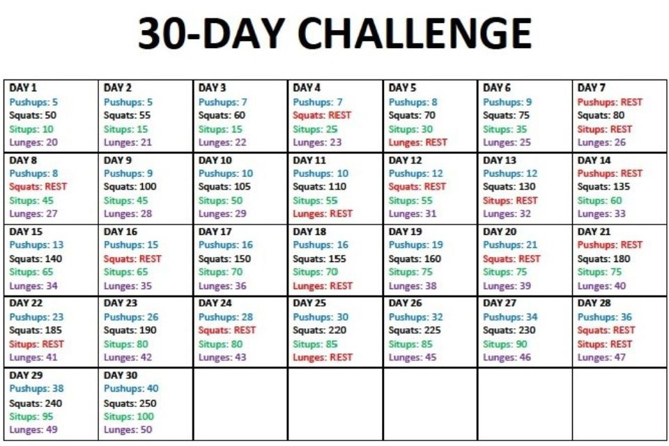 30 Day Challenge  Push Ups, Squats, Sit Ups, Lunges | 30 Within 30 Day Sit Up Challenge Printable Beginnerss