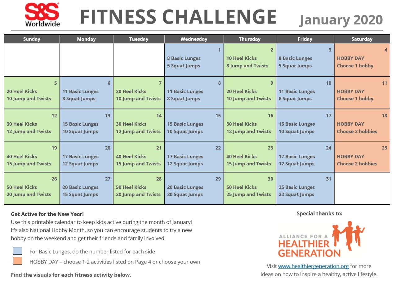 30 Day Fitness Challenge Calendar | Printable Calendar Within 30 Day Fitness Calendar Printable
