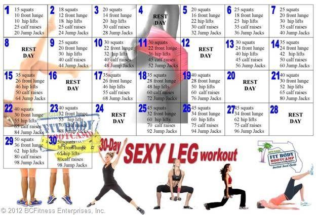 30 – Day Leg Workout | Leg Workout Women, Workout, 30 Day Leg Regarding 30 Day Thigh Workout Free Printout