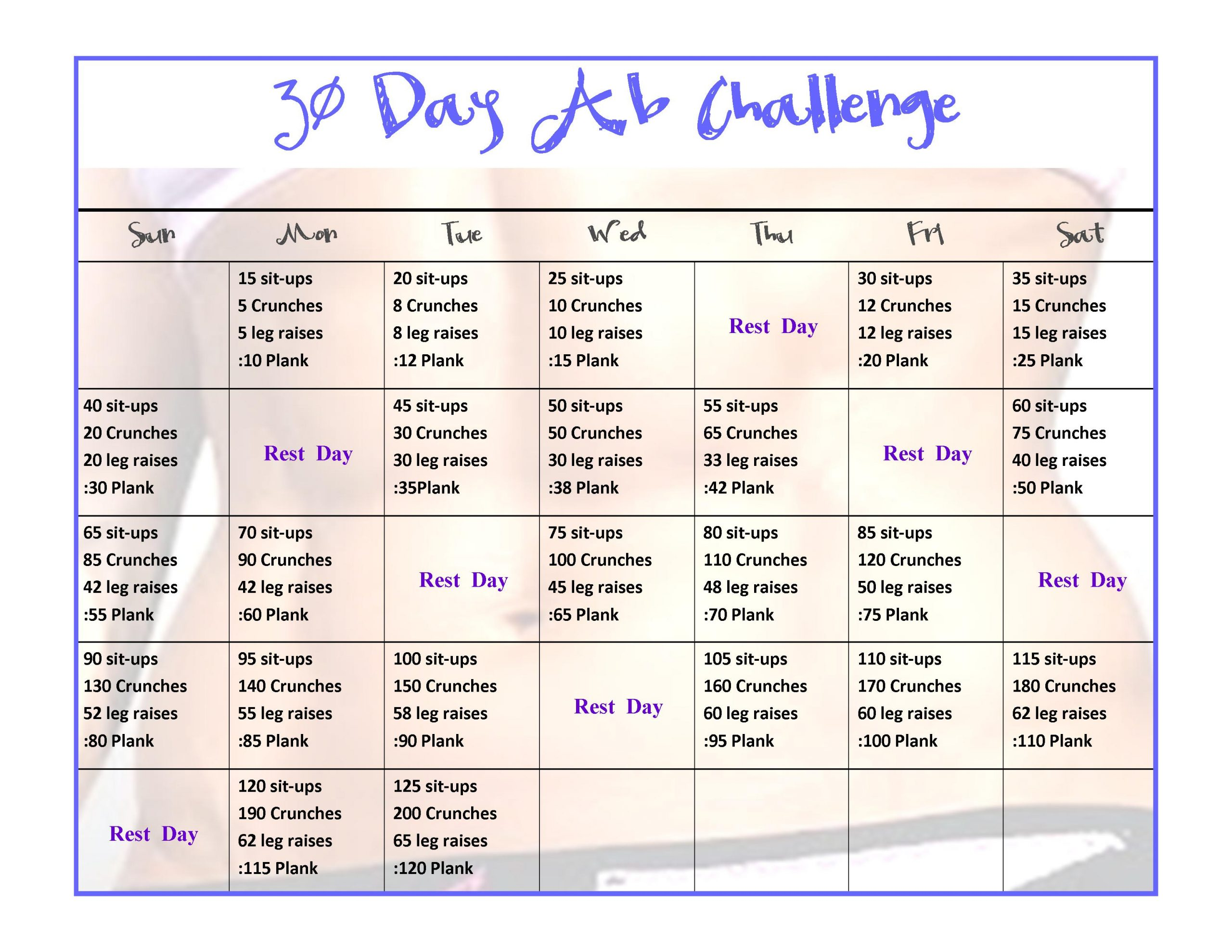 30 Day Mega Squat, Ab & Arm Challenge! | Happy Fit From Within within 30 Day Challenge For A Flat Stomach Calender
