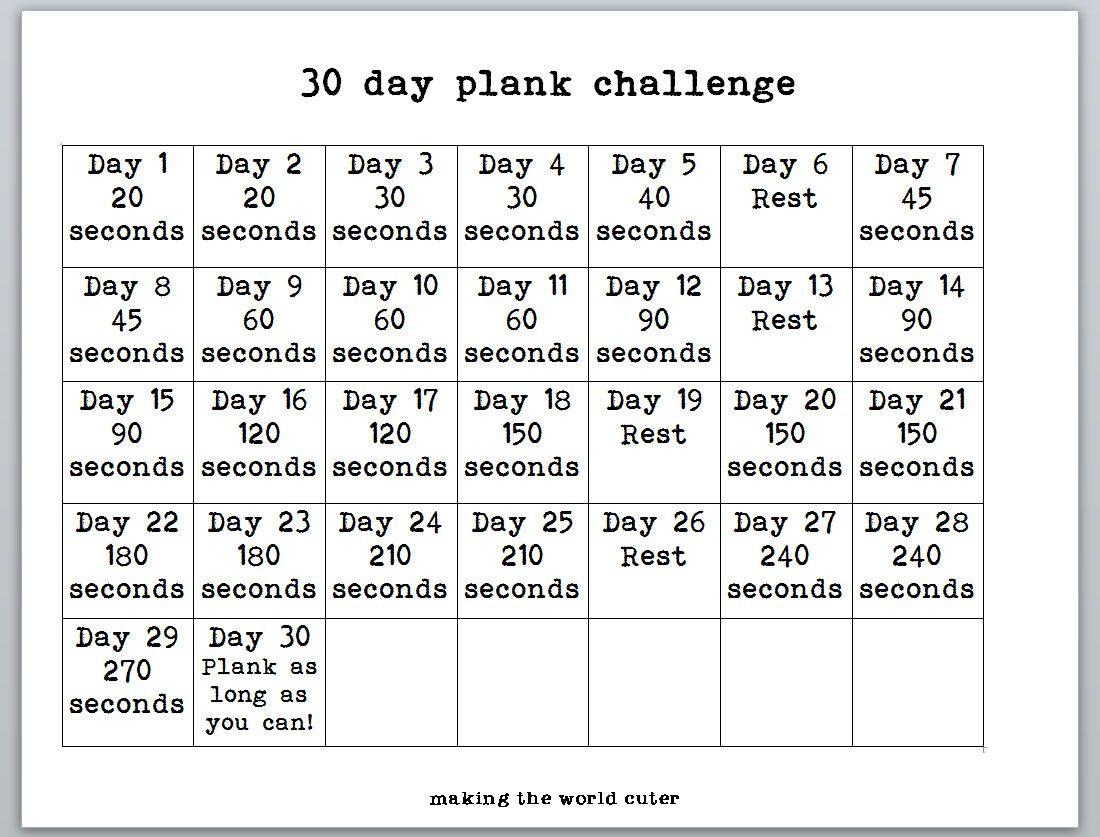 30 Day Plank Challenge Chart Regarding 30 Day Fitness Calendar Printable