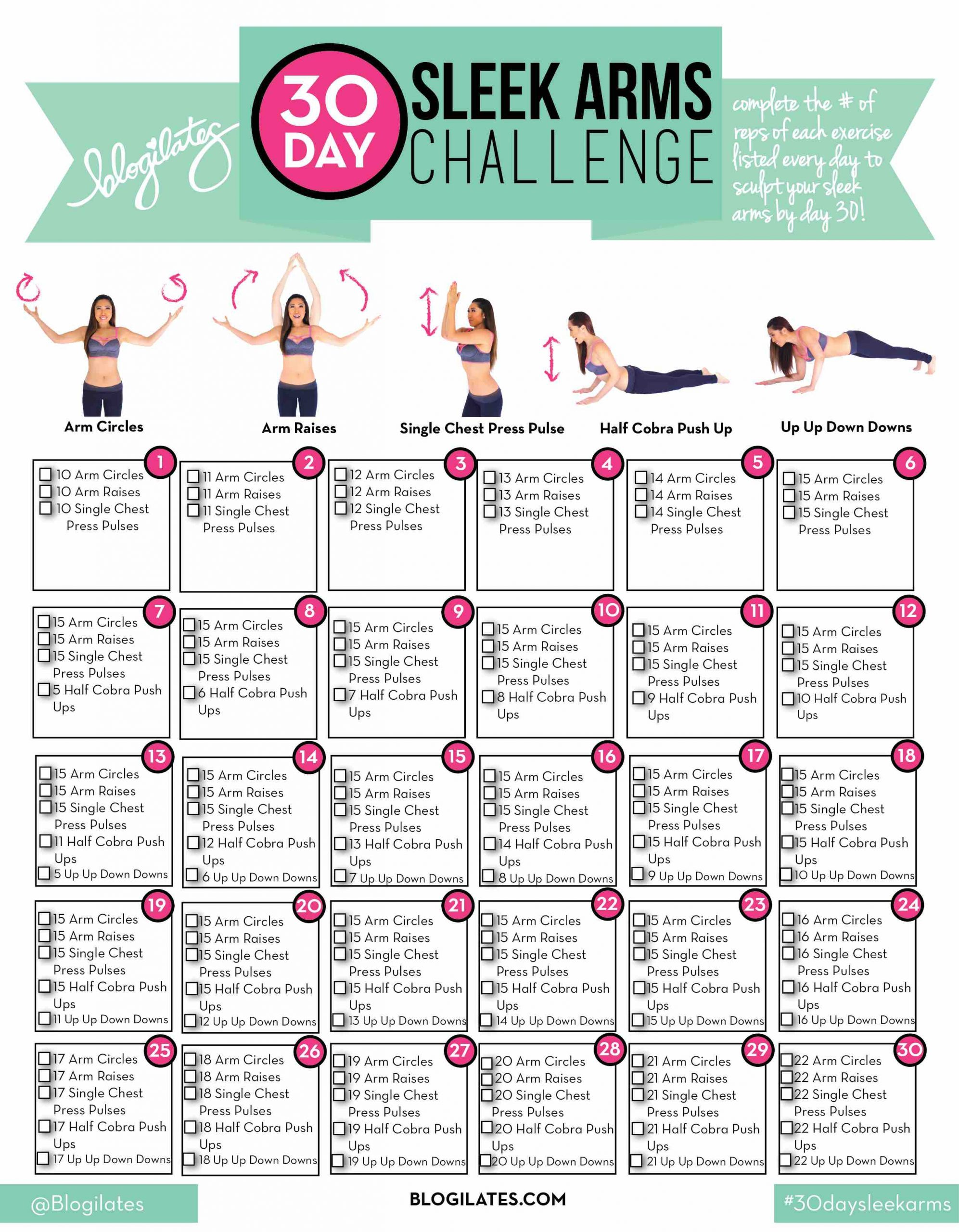 30 Day Sleek Arms Challenge Within Pinterest 30 Day Thigh Slimming Challenge