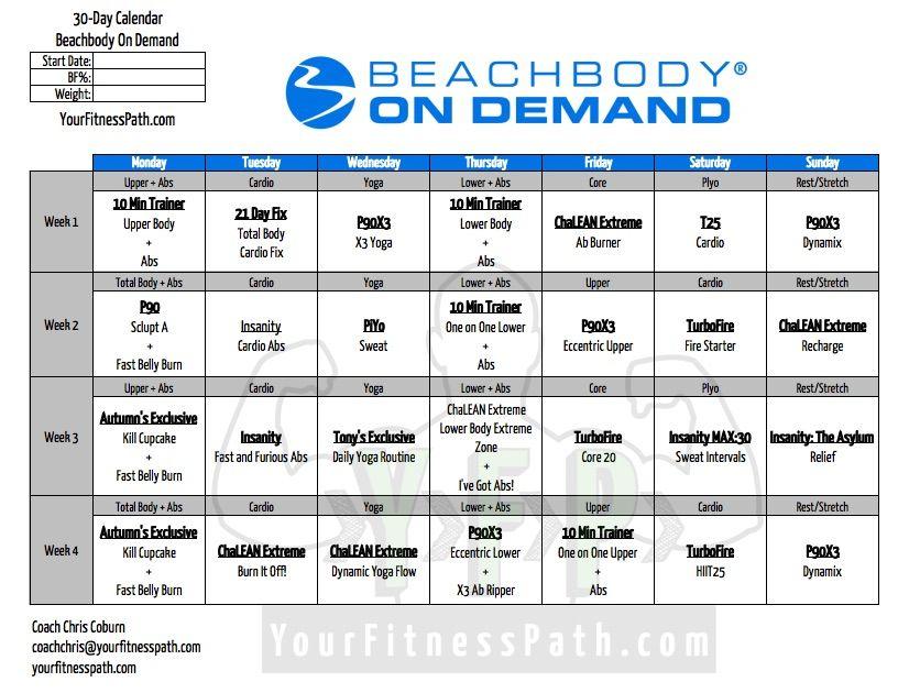 30 Days Of On Demand   Workout Calendar, Beachbody Inside Official Slim In 6 Pdf Workout Calendar
