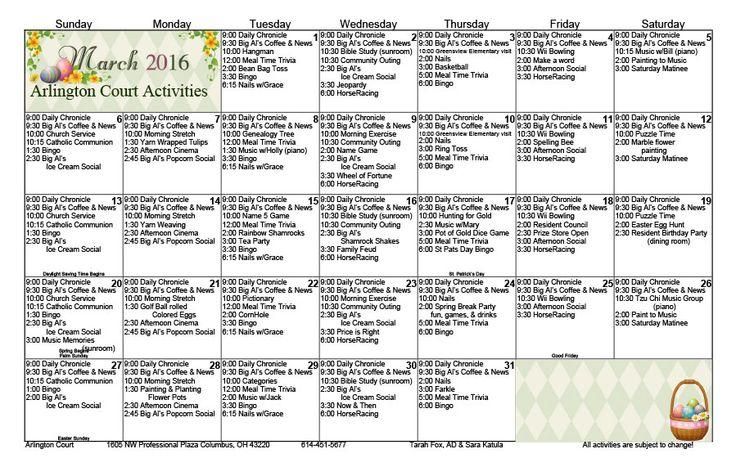 36 Best Other Activity Calendars Images On Pinterest Regarding Individual Activity Calendars For Senior Citizens