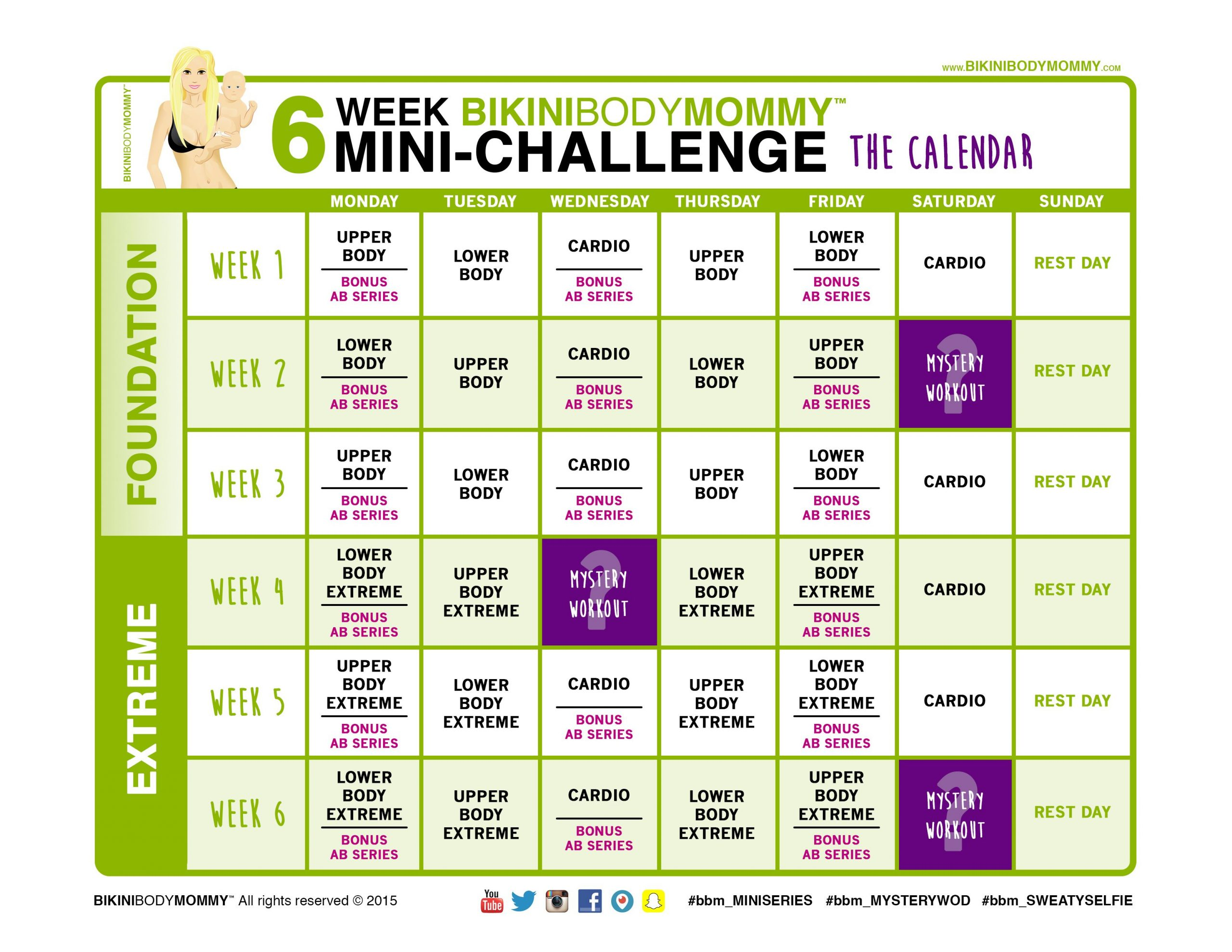 6Weekchallenge Calendar Thumb   30 Day Abs   Weekly With Official Slim In 6 Pdf Workout Calendar