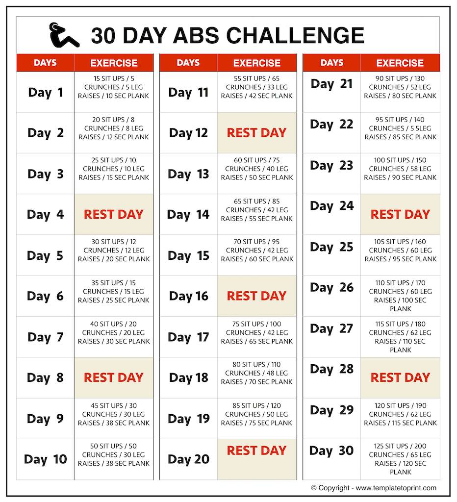 Abs Workout At Home Images | 30 Day Challenge For Men & Women inside Printable 30 Day Ab Challenge