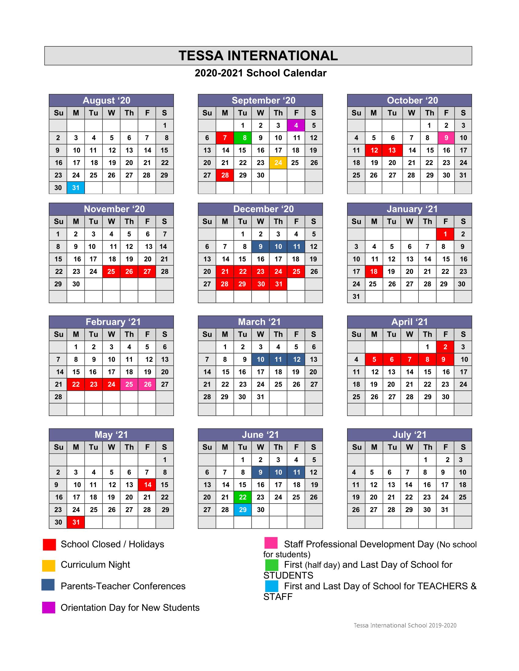Academic Calendar 2020 2021 – Tessa International School Inside Academic Calendar Chamberlain 2021