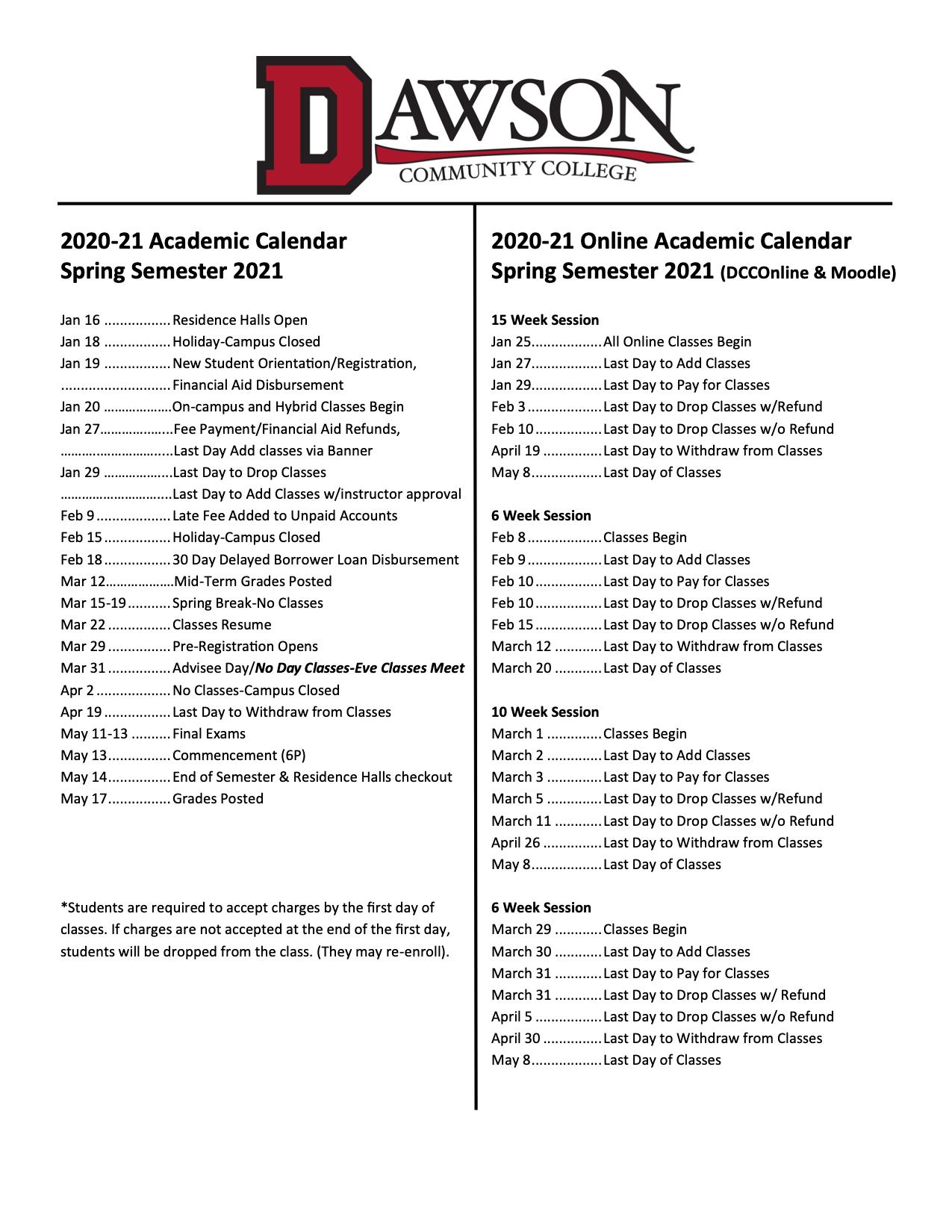 Academic Calendar Throughout Montana State University 2020 Fall Calendar