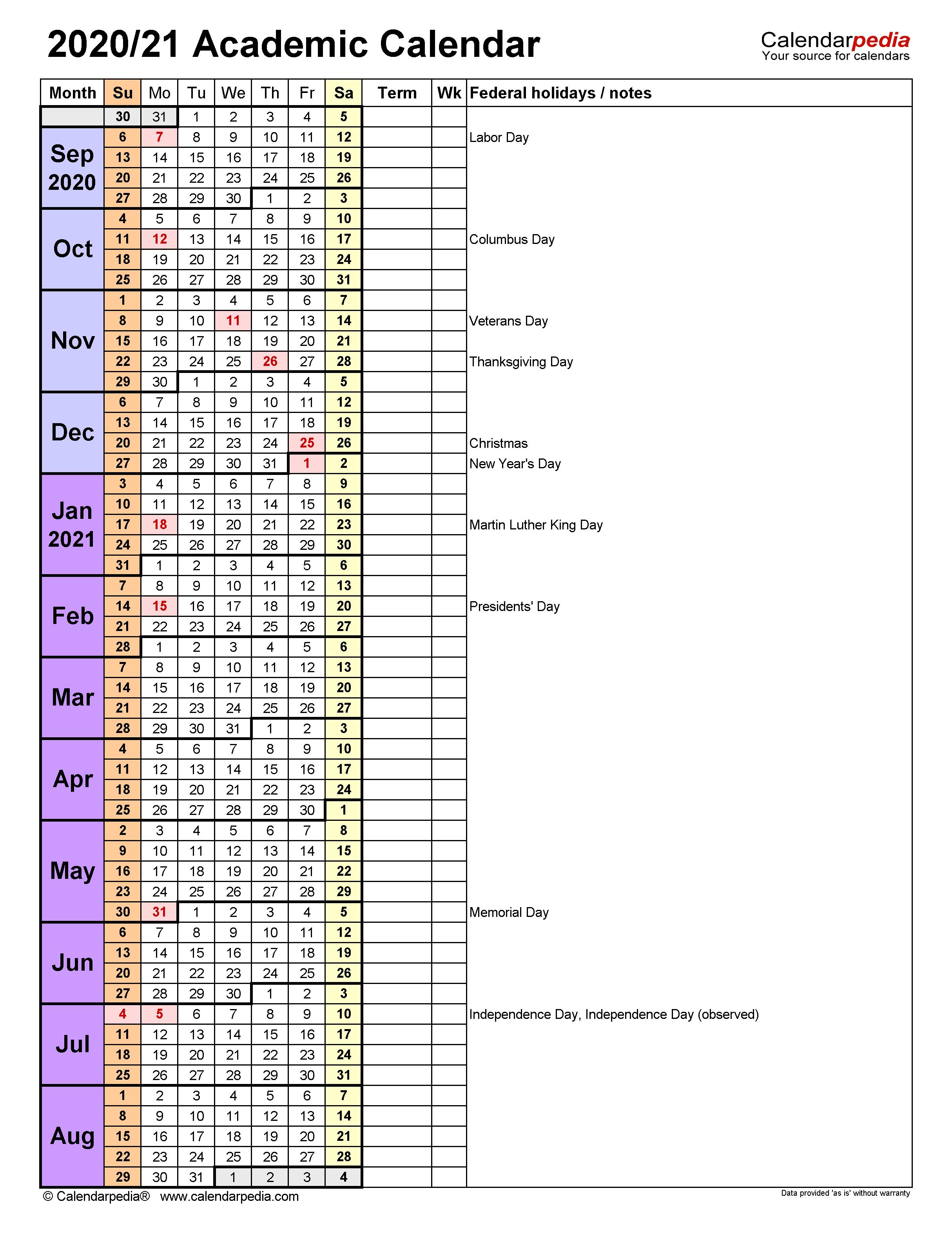 Academic Calendars 2020/2021 - Free Printable Excel Templates With Regard To Uri Academic Calendar 2021 2020