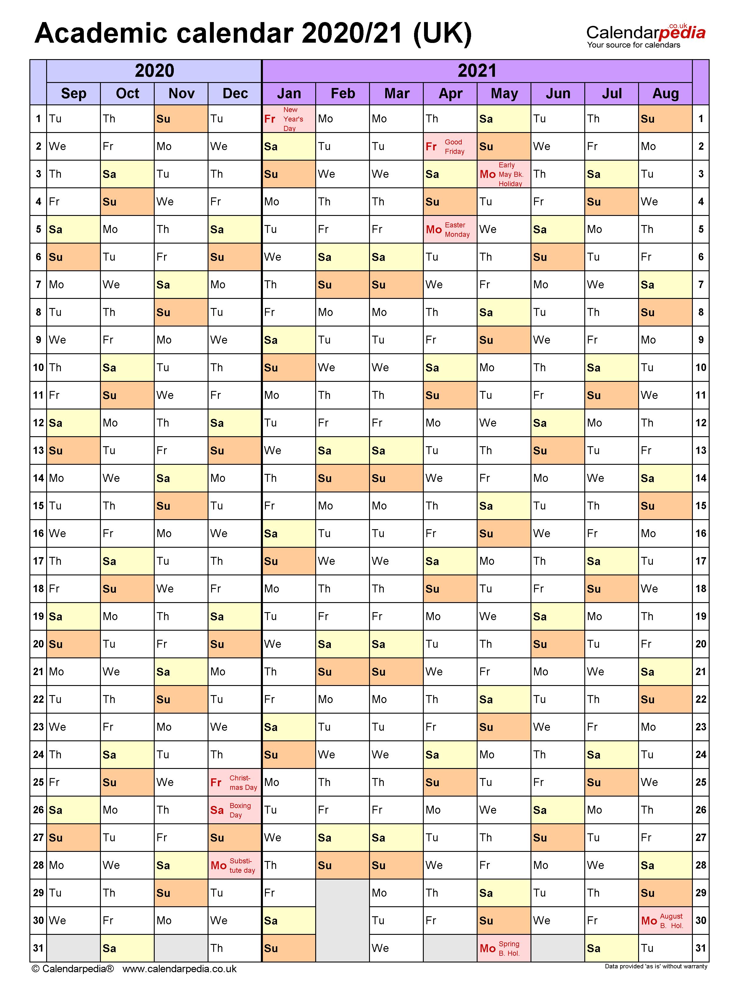 Academic Calendars 2020/21 Uk - Free Printable Word Templates For Colorado Springs District 20 2021 20 School Calendar