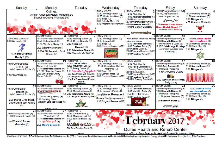 Activity Calendar – February 2017 – Dulles Health & Rehab With Regard To Uwyo Long Tern Calendar