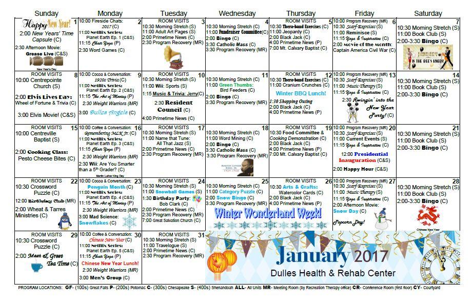 Activity Calendar – January 2017 – Dulles Health & Rehab For Uwyo Long Tern Calendar