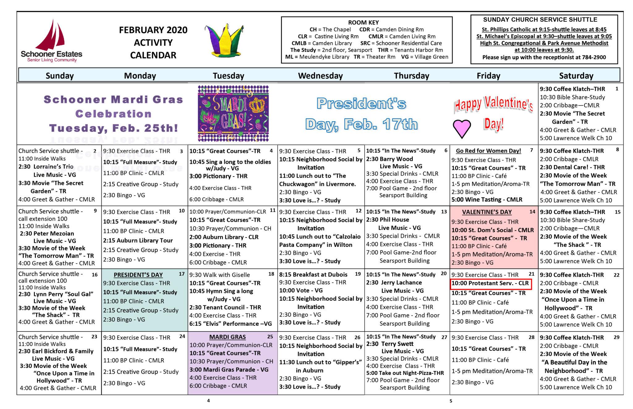 Activity Calendars – Schooner Estates Within March Assisted Living Calendar Activities