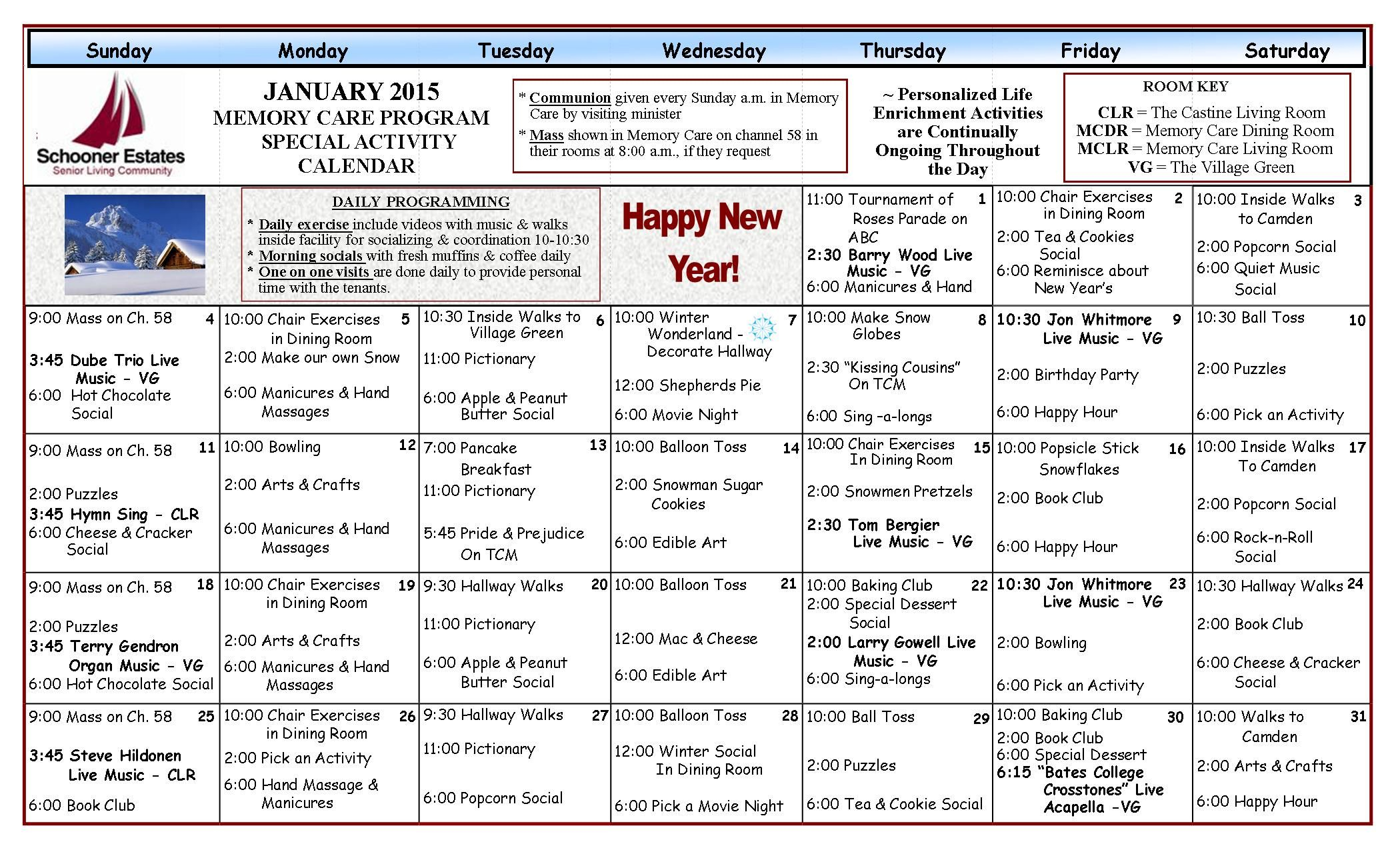 Activity Schedule In Memory Care | January 2015 Activity With Regard To Individual Activity Calendars For Senior Citizens