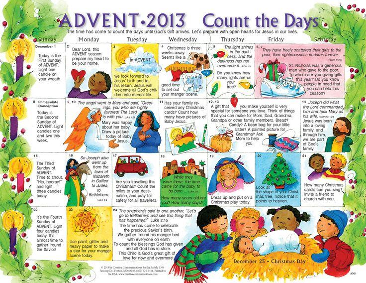 Advent Calendar 2013 To Print For Kids   2013 Advent For Catholic Saint Of The Day Calendar