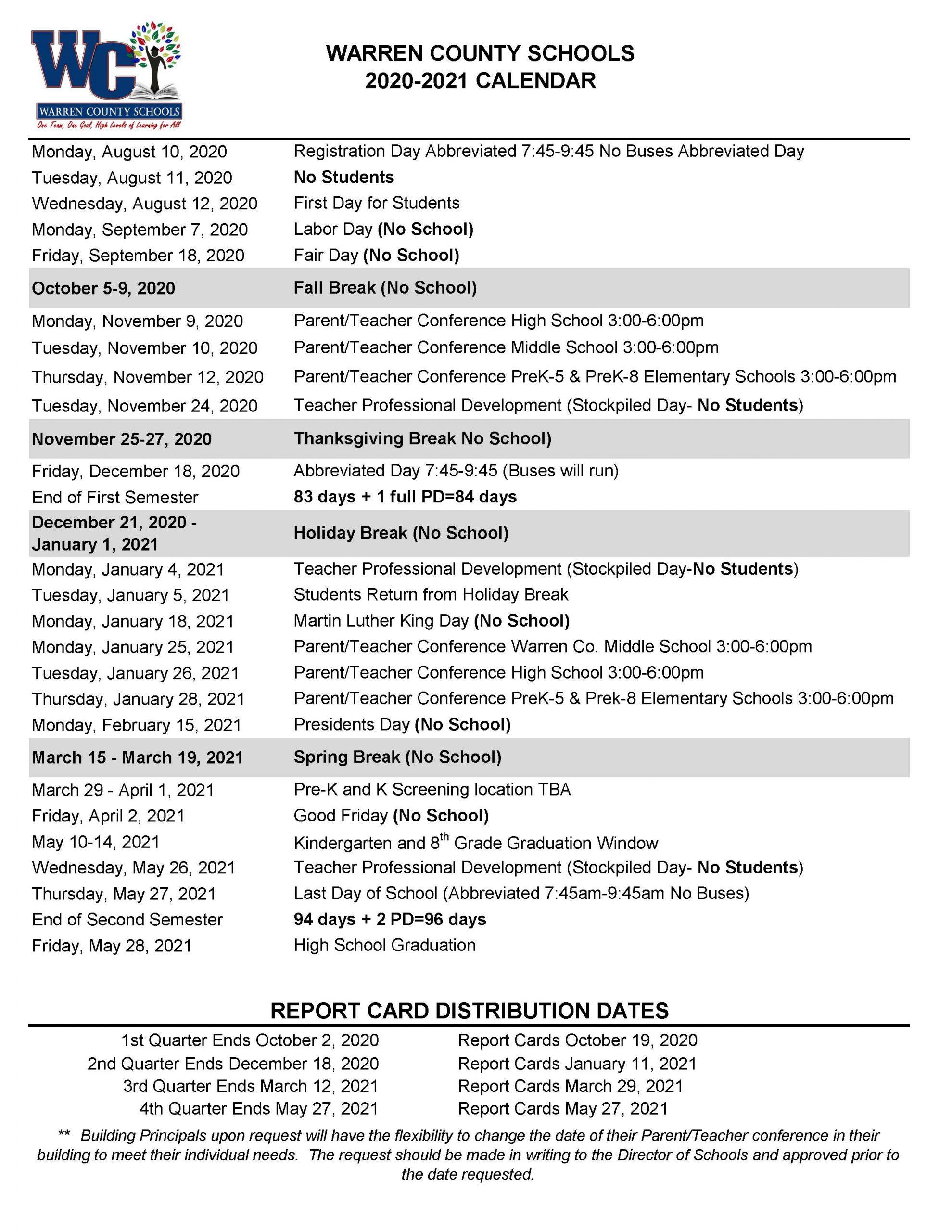 All News - Warren County Schools In Durham Public Schools Calendar 2021 2020