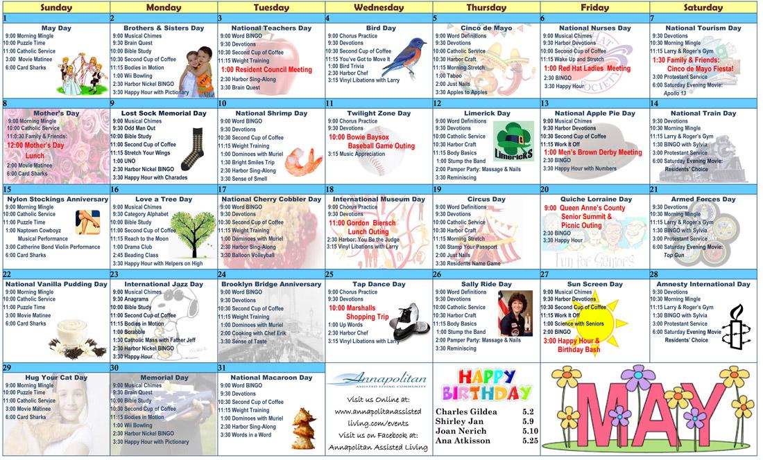 Annapolitan Resident Calendar | Annapolitan Assisted Living Pertaining To Assisted Living Calendar Template